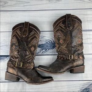 CORRAL Western Boots Womens Studded Harness